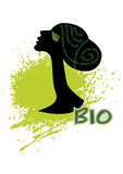 Cosmetics natural. Silhouette of a female head in profile Royalty Free Stock Image