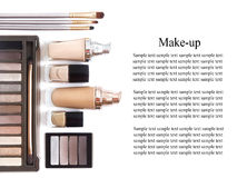 Cosmetics in natural colors and brushes isolated on white background. Makeup tools and accessories. Brow eyeshadows, naturel skin Stock Image