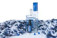 Cosmetics near a  scarf Royalty Free Stock Photos