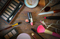 Cosmetics on old wood. Set of cosmetics on old wood background Royalty Free Stock Photos