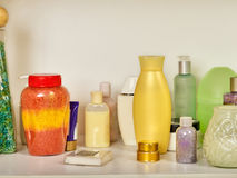 Cosmetics package of beauty products in cosmetic bottle. Stock Photos