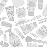 Cosmetics pattern seamless. Hand DrawVector Line wallpaper vector illustration