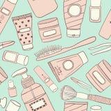 Cosmetics pattern seamless. Hand DrawVector Line wallpaper royalty free illustration