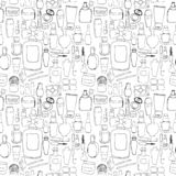 Cosmetics pattern seamless. Hand DrawVector Line wallpaper stock illustration
