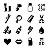 Cosmetics Perfume Icons Set Stock Photos