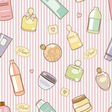 Cosmetics-on-pink-pattern stock illustration