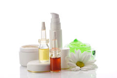 Cosmetics products and chamomile Royalty Free Stock Image