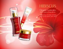 Cosmetics Products Composition. Cosmetics products with hibiscus luxury collection composition on red blurred background with flower and sparkles vector Royalty Free Stock Image