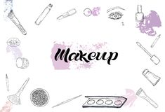 Cosmetics products, fashion makeup banner. stock illustration