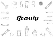 Cosmetics products, fashion makeup banner. vector illustration
