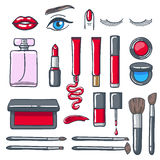 Cosmetics products icons set. Beauty vector illustration. Royalty Free Stock Images