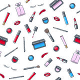 Cosmetics products seamless pattern. Beauty vector illustration. Stock Photography