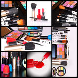 Cosmetics. Professional Make-up collage,cosmetics on black and white background Royalty Free Stock Image