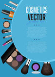 Cosmetics Promo Booklet Title Page Vector Template. Cosmetic product presentation booklet cover. Makeup accessories set on blue. Brushes, powder, lipstick, eye Stock Photography