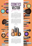 Cosmetics Promo Booklet Title Page Vector Template. Cosmetic product presentation booklet cover. Makeup accessories set on orange. Brush, powder, lipstick, eye Royalty Free Stock Images