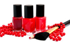 Cosmetics of red colors Royalty Free Stock Photography