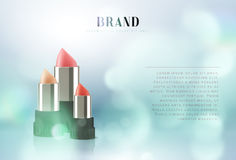 Cosmetics red lipstick. 3d illustration beautiful advertising poster.  Stock Images
