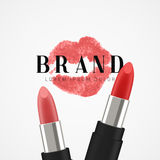 Cosmetics red lipstick. 3d illustration beautiful advertising poster.  Stock Photography