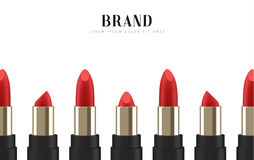 Cosmetics red lipstick. 3d illustration beautiful advertising poster.  Royalty Free Stock Photo