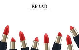 Cosmetics red lipstick. 3d illustration beautiful advertising poster.  Stock Photo