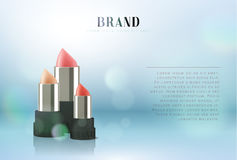 Cosmetics red lipstick. 3d illustration beautiful advertising poster.  Royalty Free Stock Photography