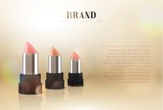Cosmetics red lipstick. 3d illustration beautiful advertising poster.  Stock Image