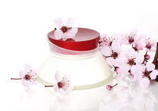 Cosmetics and Sakura flower Stock Photos
