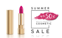 Cosmetics sale banner with lipstick and pink smear. Fashion sale discount illustration. Cosmetics sale banner with lipstick and pink smear. Fashion sale Royalty Free Stock Photography