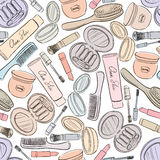 Cosmetics seamless background. Royalty Free Stock Images