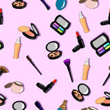 Cosmetics seamless full color pattern. On pink background Royalty Free Stock Images