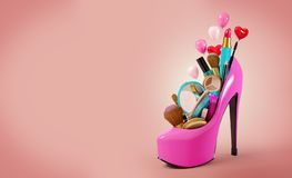 Cosmetics set. Into a woman's shoe. Fashion illustration royalty free illustration