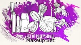 Cosmetics set against a background of splashing Stock Photo