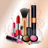 Cosmetics set for a beautiful make-up. Royalty Free Stock Photos