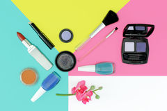 Cosmetics set with copy space Stock Photos