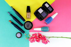 Cosmetics set with copy space Royalty Free Stock Images