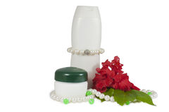 COSMETICS SET.Creams and pearls. Stock Images