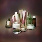 Cosmetics set. Creams, shampoo, perfume on dark background. Royalty Free Stock Images