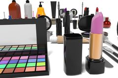Cosmetics set. 3d rendering of cosmetics set Royalty Free Stock Image