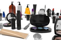 Cosmetics set. 3d rendering of cosmetics set Royalty Free Stock Photos