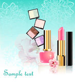 Cosmetics set with flowers. Collection of a few articles of cosmetic set with flowers Royalty Free Stock Photos