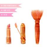 Cosmetics set. Hand drawn make up artist objects: lipstick, lip gloss, brush blender . Vector isolated beauty illustration Royalty Free Stock Photography