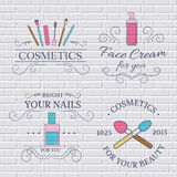 Cosmetics set label template of emblem element for your product or design, web and mobile applications with text. Vector Royalty Free Stock Photo