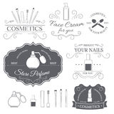 Cosmetics set label template of emblem element for your product or design, web and mobile applications with text. Vector Stock Images
