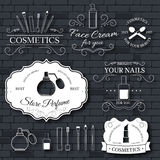 Cosmetics set label template of emblem element for your product or design, web and mobile applications with text. Vector Stock Photography
