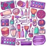 Cosmetics set with make up objects. Cosmetics and beauty set with make up objects - mascara, cream, cosmetic bag, nail polish, eyeshadow, blush, powder, perfume