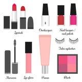 Cosmetics set for a make-up (set 1). Vector illustration of cosmetics set for a make-up: mascara, false eyelashes, primer, lip gloss, lipsticks, blush, nail royalty free illustration