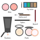Cosmetics set for a make up (set 2). Vector illustration of cosmetics set for a make up: foundation, two powders with sponge, two blushes, eye shadows with stock illustration