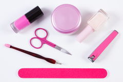 Cosmetics and set of manicure or pedicure tools, concept of nail care Royalty Free Stock Photo