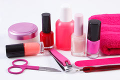 Cosmetics and set of manicure or pedicure tools, concept of nail care Royalty Free Stock Image