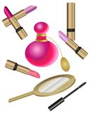 Cosmetics Set  with Perfume Royalty Free Stock Image